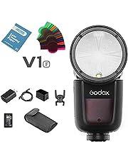 Godox V1-F Flash Flash TTL su fotocamera tondo Flash Flash per fotocamera compatibile per fotocamera Fuji + batteria agli ioni di litio + ricarica USB Stunt