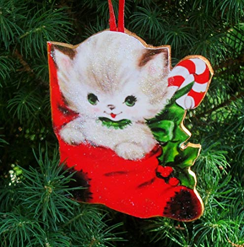 Kitty in Stocking Ornament, Handcrafted Wood Christmas Decoration, Cat Lover