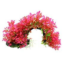 Uxcell Arch Shaped Aquarium Decor Aquatic Plants/Grass, Hot Pink Green