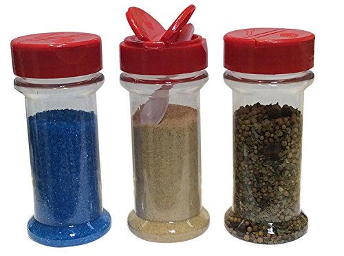 Spice Containers 10 sets - 7 oz. clear plastic pet spice jars storage container bottles with red sifter spoon caps - 10 bottles with caps - plus 2 mini spoons (Spice Plastic Empty Containers)