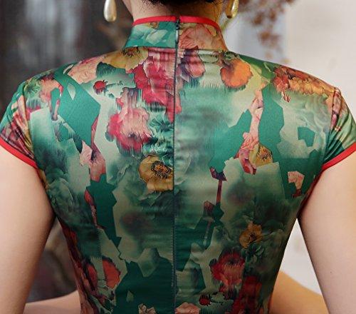 Etuikleid ACVIP Schlitz Stehtkragen Damen Chinesische Sommer Retro Klassische Lang Uqw8AfHU