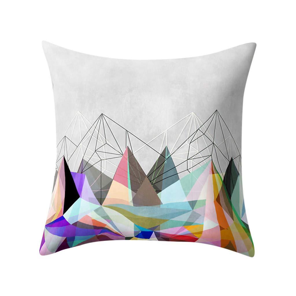 Psunrise La Almohada Fashion Geometric Polyester Pillowcase Cushion Cover Square Pillowcase Home Sofa Decoratio(45x45 cm, Multicolor M)