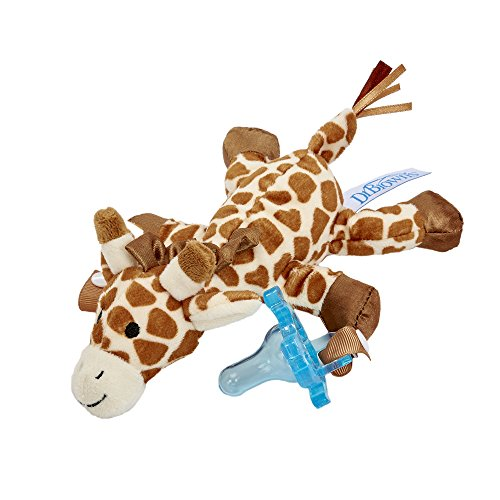 (Dr. Brown's Lovey Pacifier and Teether Holder, 0 Months Plus, Giraffe with Blue Pacifier)