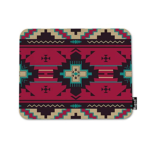 Mugod Wave Line Mouse Pad Aztec Navajo Triangle Pattern Ethnic Purple Red Blue Brown Mouse Mat Non-Slip Rubber Base Mousepad for Computer Laptop PC Gaming Working Office & Home 9.5x7.9 -
