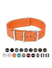 Archer Watch Straps   Nylon NATO Straps   Choice of Color and Size (Orange, 20mm)
