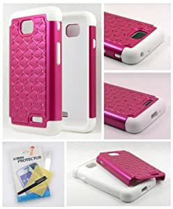 Thousand Eight(TM) For LG Optimus L70 Diamond Studded Silicone Rubber Skin Hard Case + [FREE LCD Screen Protector Shield(Ultra Clear)+Touch Screen Stylus] (Diamond hot pink/white)