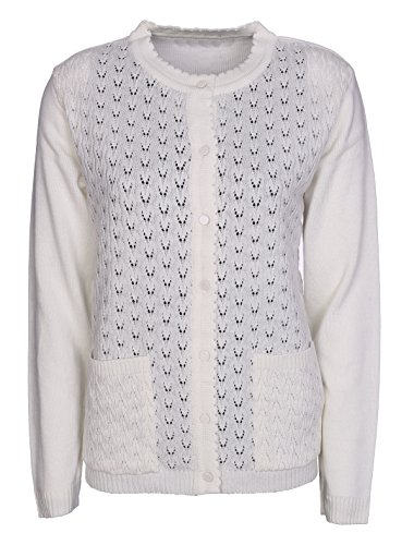 New Classic para mujer Cardigans señoras Crochet de Punto Manga Larga Botón de cuello redondo punto Aran tipo Plus tamaños 12–�?0 crema