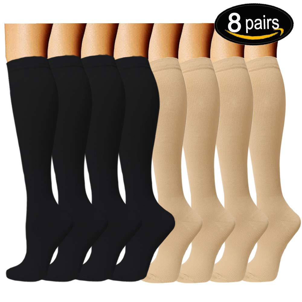 8 Pairs Compression Socks Women & Men -Best Medical,Nursing,Travel & Flight Socks-Running & Fitness,Pregnancy & Maternity-15-20mmHg (L/XL, Assorted 3) by ACTINPUT