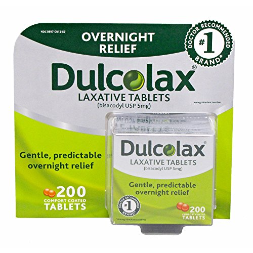 Dulcolax Overnight Relief Laxative Tablets, 200 ct. (pack of 6) by Dulcolax