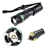 Itechor Flashlight, Water Resistant Super Bright Cree T6 800 Lumens 3-Mode LED Zoomable Flashlight Torch (Black)