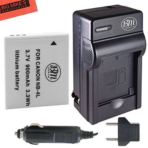BM Premium NB-4L Battery and Charger Kit for Canon Vixia mini PowerShot Elph 100 HS, Elph 300 HS, Elph 310 HS, SD 30, SD 40, SD 200, SD300, SD400, SD430, SD450, SD600, SD630, SD750, SD780, SD960, SD1000, SD1100 IS, SD1400 IS, TX1 Digital Cameras