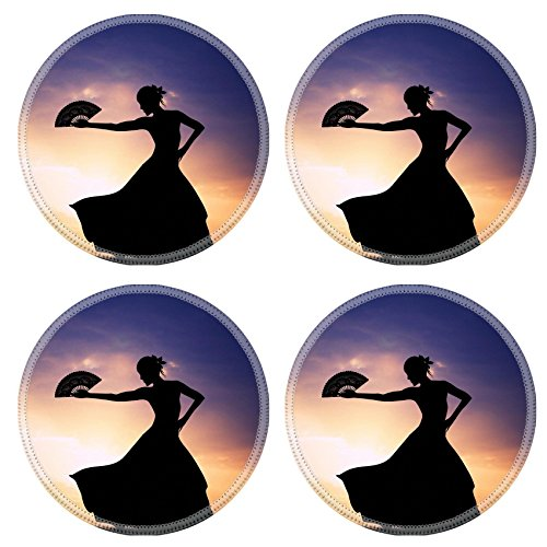 [Luxlady Natural Rubber Round Coasters IMAGE ID 21164112 Flamenco silhouette at sunset] (Female Flamenco Dancer Costumes)