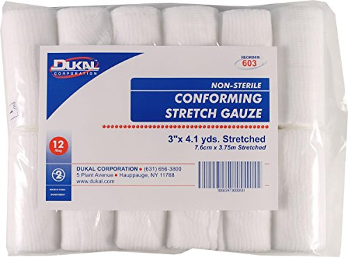 023010 Non-Sterile Conforming Stretch Gauze White, 3inch x 4.1Yard,12 count (White Gauze)