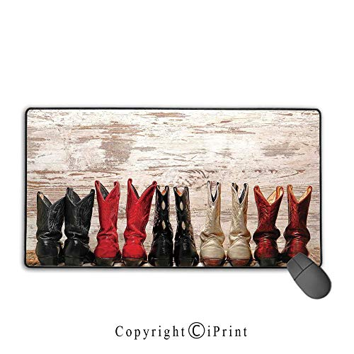 Extended Mousepad with Durable Stitched Edges,Western,American Legend Cowgirl Leather Boots Rustic Wild West Theme Folkart Print,Beige Red Black,Suitable for laptops, computers, PCs, keyboards,15.8