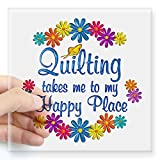 quilt car decals - CafePress - Quilting Happy Place Square Sticker 3