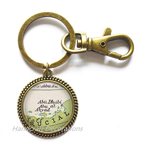 Charming Keychain Abu Dubai map Keychain, Abu Dubai Key Ring, Abu Dubai Keychain, Abu al Abyad map Key Ring, UAE map Key Ring,A0023