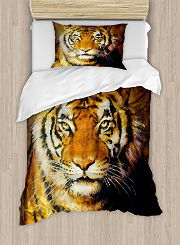 Ambesonne Tiger Duvet Cover Set Twin Size, Oil Painting Style Big Cat Purposeful Eyes Carnivore Bengal Feline of East, Decorative 2 Piece Bedding Set with 1 Pillow Sham, Black Light Brown