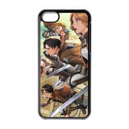 Attack On Titan coque iPhone 5C Housse téléphone Noir de couverture de cas coque EBDOBCKCO14012