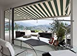 ADVANING Manual Luxury L Series, 12'x10', Semi-Cassette Window/Door Canopy Sun Shade Patio Retractable Awning, Garden Green with Sand Beige Stripes, Model: MA1210-A808H2