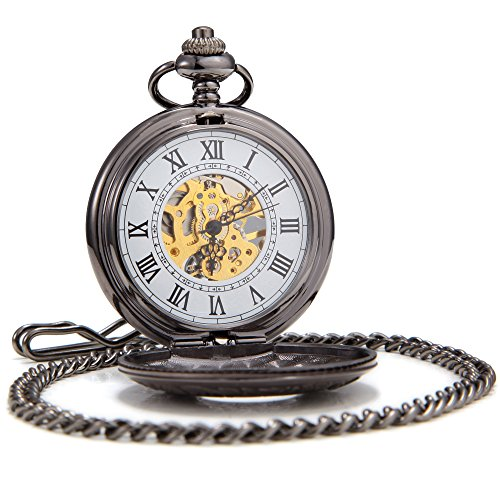 SEWOR Business Double Open Skeleton Pocket Watch Mechanical Hand Wind Movement Full Hunter Gift