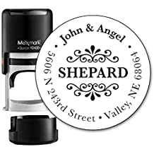 Customized Monogram Address Stamp - Self Inking Home Address Stamp for Envelopes - Large, Circle Shaped Design with Modern Font - (MOAD015-SI) - Refillable Stamp with Locking Bottom Cover