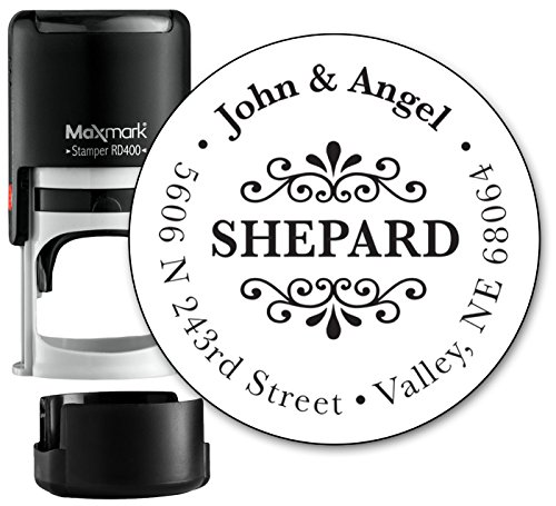 Customized Monogram Address Stamp - Self Inking Home Address Stamp for Envelopes - Large, Circle Shaped Design with Modern Font - (MOAD015-SI) - Refillable Stamp with Locking Bottom Cover Designs Rubber Stamp