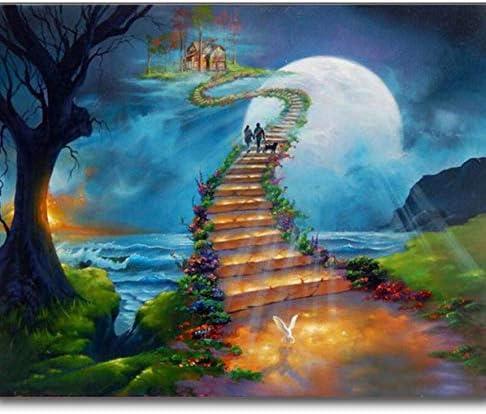 5D Diy Diamante Pintura Hermosa Escalera Cielo Mar Bordado Cuadrado Completo Diamante Pintura Punto De Cruz Rhinestone Mosaico Pintura-30x40cm: Amazon.es: Hogar