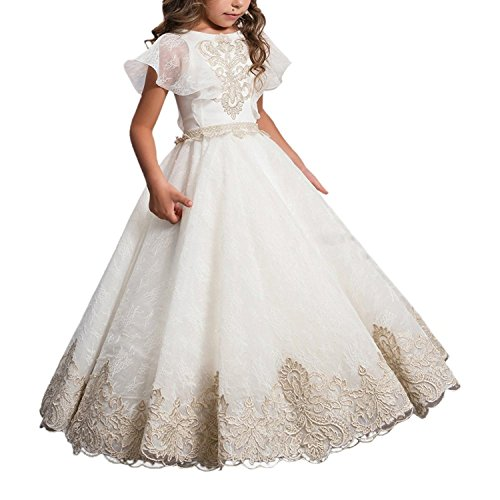 ABaowedding Flower Girls Lace Applique Ball Gowns First Communion Dress Birthday Dress US 12 Ivory -