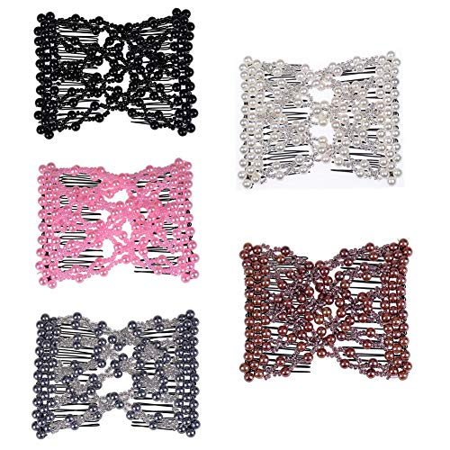 Casualfashion 5Pcs Ez Stretch Beaded Hair Combs Double Magic Slide Metal Comb Clip Hairpins for Women Hair Styling - Ez Clip Hair