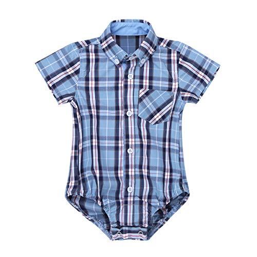 Boys Dressing Up Outfit (iEFiEL Toddler Boys Plaid Short Long Sleeve Button-up Bodysuit Formal Dress Shirt Baby Gentleman Romper Wedding Party Outfits Sky Blue Short Sleeves 24)