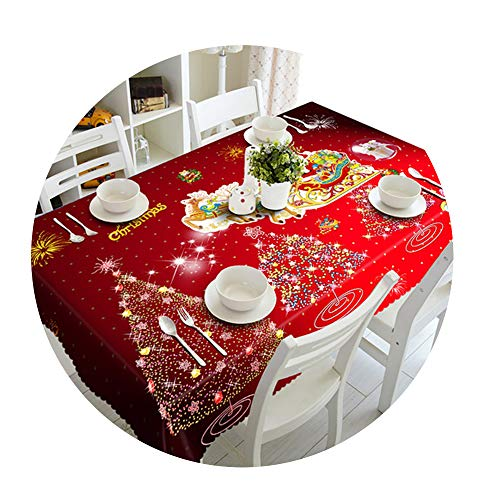 COOCOl Great 3D Tablecloth Christmas Tree Fireworks Waterproof Thicken Rectangular Round Wedding Table Cloth,A,60 X -
