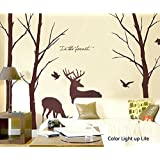 Cukudy ? Deer Wall Decals Nature Brown Wall Decals Birch Tree Nursery Wall Stickers (Trees are 6 feet tall) by YYone