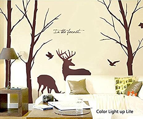 Bon Cukudy Deer Wall Decals Nature Brown Wall Decals Birch Tree Nursery Wall  Stickers (Trees Are