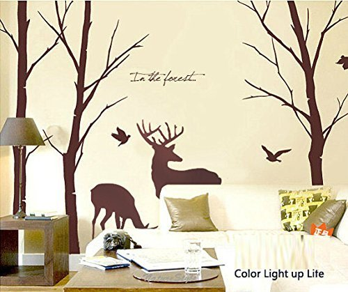 Cukudy Deer Wall Decals Nature Brown Wall Decals Birch Tree Nursery Wall Stickers (Trees are 6 feet tall) (Wall Decals Hunting)