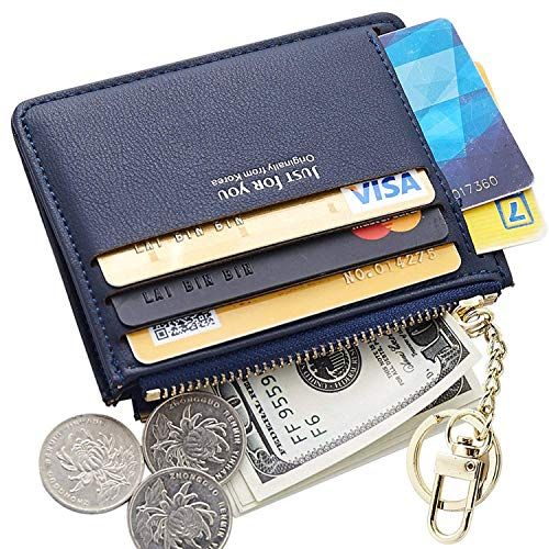Small Wallets for Women, Slim Pocket Wallet Lady Mini Purse Leather Card Case Short Wallet with Keychain (A-Dark Blue)
