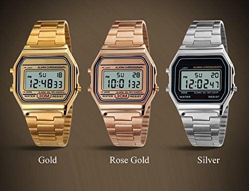 Amazon.com: VIGOROSO Men Lady Vintage Retro Gold Stainless Steel Digital  Casual Watch Alarm Stopwatch(Rose Gold): Watches