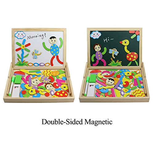 Wooden Educational Toys Magnetic Drawing Board Art Easel Animals Jigsaw Puzzles Dry Erase Double Side Magnetic Board Game Toys Gift for Kids Toddlers, Classic Theme and Dinosaur Theme, Random Delivery by Fajiabao (Image #2)