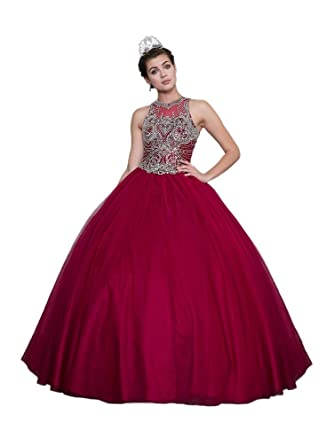 f2abe568808 Calla Collection Womens Wine Embroidered Open Back Quinceanera Ball Dress 12