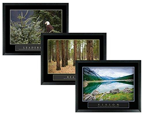wallsthatspeak 3 Framed Leadership Forest Eagle Vision Mountain Reach Trees Motivational Posters 22x28 Home Office - Leadership Eagle