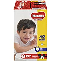 Huggies Snug y seco Pañales, tamaño 4, Economy Plus Pack, 192 Count (suministro...