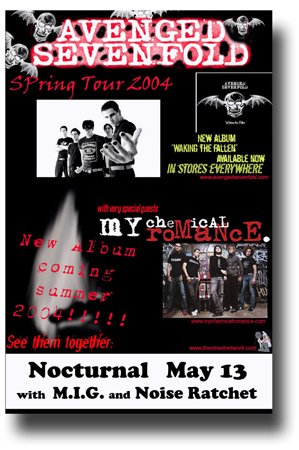 Avenged Sevenfold & My Chemical Romance Poster - 11 x 17 Promo for Concert on the Spring 2004 Tour MCR A7X
