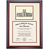 Virginia Tech VT Hokies Diploma Frame Ivory Maroon Matting Pen & Ink