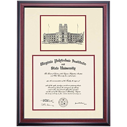 Virginia Tech VT Hokies Diploma Frame Ivory Maroon Matting Pen & Ink by Campus Linens