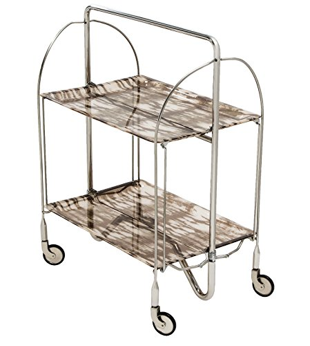 ShimonTech 2-shelf Elegant Stainless Steel Foldable Serving Cart, Indoor or Outdoor, Fully Adjustable Serving Cart Table with Wheels and Acrylic Trays, Collapsible for Easy Storage. – Brown Pattern