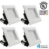 9W 4-inch High CRI Dimmable Retrofit LED Recessed Lighting Fixture, Square Shape 60W Equivalent 2700K Warm White UL-classified Recessed Ceiling Light for Commercial,Home and Office Lighting, Pack of 4