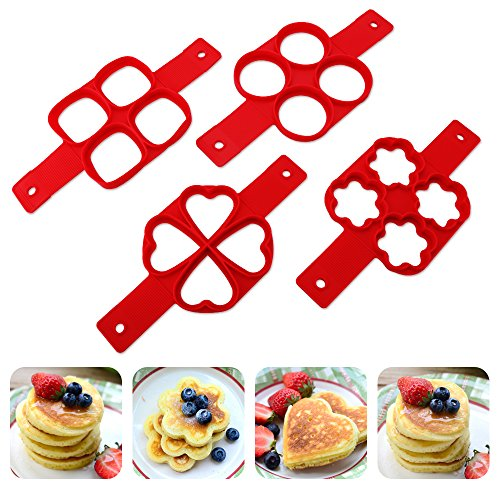 Perfect Flip Cooker Pancakes Mold, 2-pack Nonstick Silicone Pancake Mold Maker Breakfast Pancake Shaper - Round and Heart Shape, Flower and Square (Heart and Square)