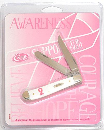 Case White Synthetic Mini Trapper w/ Pink Ribbon Pocket Knife