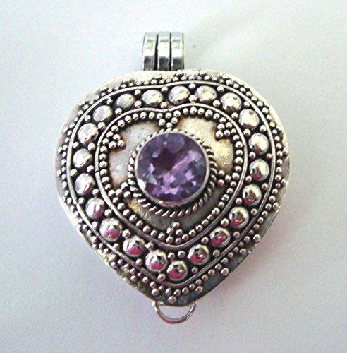 (February purple amethyst heart locket sterling silver wish box, prayer box)