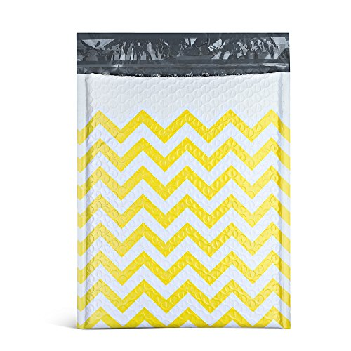 FU GLOBAL Poly Bubble Mailers 8.5x12 Inches Padded Envelopes #2 Yellow Zigzag Stripe Bubble Envelopes 25pcs