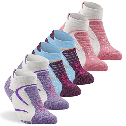 Bombas Socks for Women, Facool No Show Athletic Running Wicking Blister Resistant Long Distance Sport Socks,6 Pairs -